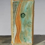 Stamps - Loughborough , stoneware slabbed vase, oxidisation gas fired, 21cm x 10cm x 6cm
