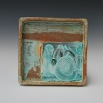 Medium square stoneware tray.