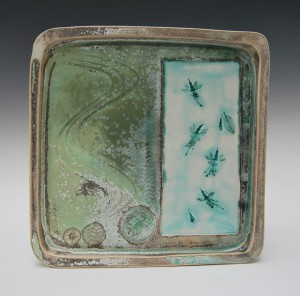 Large square porcelain tray.