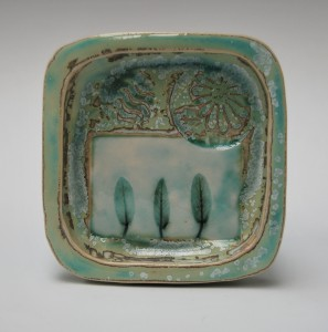Small square porcelain tray.