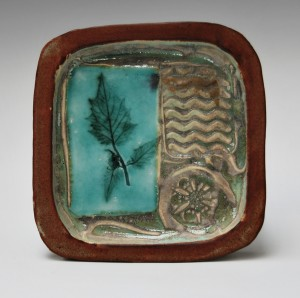 Small square stoneware tray.