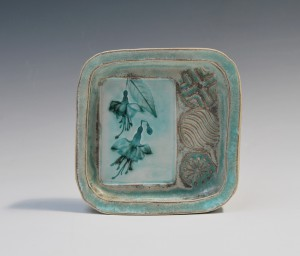 Porcelain tray with fuchsias