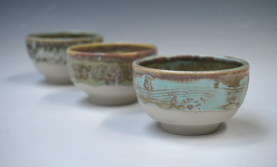 "Porcelain bowls thrown ""off the hump"""
