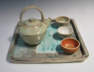 Large Porcelain tray, teapot and bowls