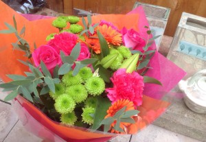 Flowers from Loughborough University Arts team